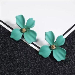 Teal Green Floral Earrings